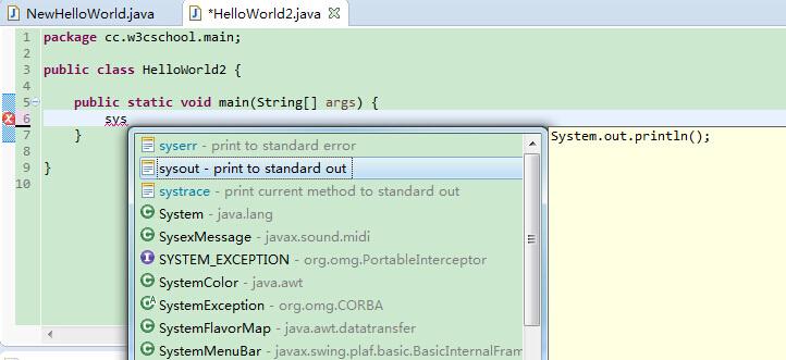 Eclipse code templates